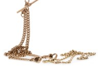 Lot 577 - NINE CARAT GOLD WATCH CHAIN formed by narrow...