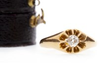 Lot 582 - DIAMOND SOLITAIRE RING set with an old cut...