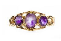 Lot 597 - LATE VICTORIAN GEM SET RING set with three...