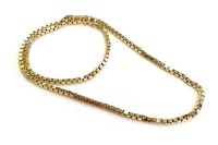 Lot 606 - NINE CARAT GOLD BOX LINK CHAIN NECKLACE with...