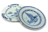 Lot 1001-TWO 19TH CENTURY CHINESE BLUE AND WHITE PLATES...