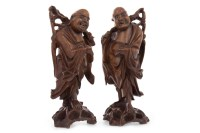 Lot 1009-PAIR OF EARLY 20TH CENTURY CHINESE CARVED WOOD...
