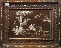 Lot 1027-A CHINESE INLAID WOOD PANEL