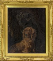 Lot 22-LUCY DAWSON, TWO RETRIEVERS oil on canvas, signed ...
