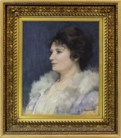 Lot 23-BRITISH SCHOOL, PORTRAIT OF A LADY pastel on...