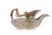 Lot 811-GEORGE III SILVER TEAPOT maker JD, Edinburgh 1807,...