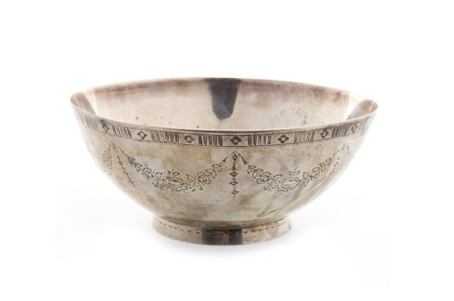 Lot 817-18TH CENTURY IRISH SILVER BOWL marks rubbed,...