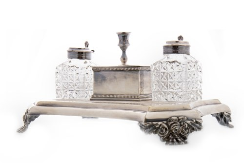 Lot 819-EARLY 20TH CENTURY SILVER PLATED DOUBLE INKSTAND...