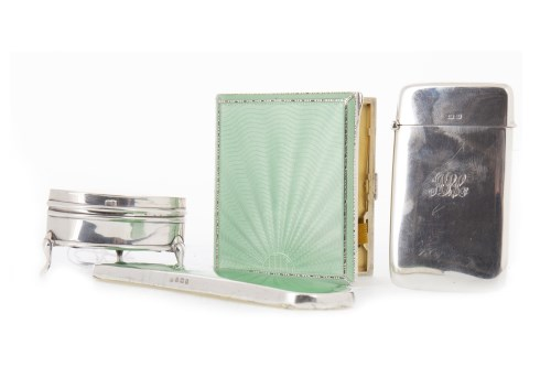 Lot 825-GEORGE V SILVER AND ENAMEL CIGARETTE CASE...