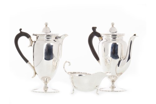 Lot 826-EDWARD VII SILVER CAFE AU LAIT SET maker...