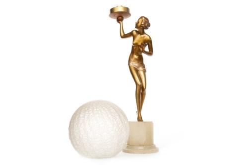 Lot 1603-ART DECO GILT SPELTER FIGURAL TABLE LAMP modelled ...
