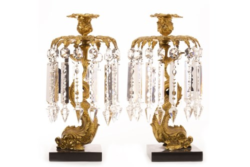 Lot 1610-PAIR OF GILTMETAL CANDLE LUSTRES each with...