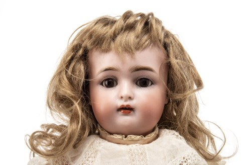 Lot 1613-SIMON & HALBIG BISQUE HEADED DOLL with closing...