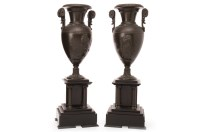 Lot 1614-PAIR OF FRENCH BRONZE AND SLATE GARNITURE VASES...