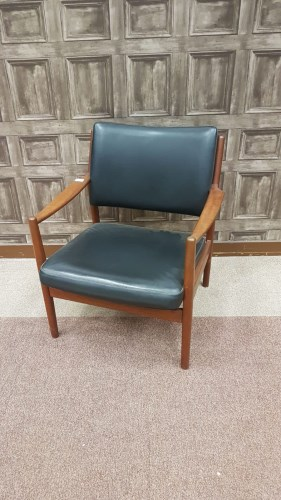 Lot 1615-RETRO DANISH TEAK OPEN ELBOW CHAIR in the style...