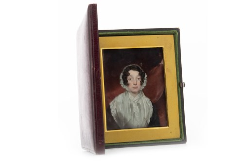 Lot 1616-VICTORIAN PORTRAIT MINIATURE OF A YOUNG LADY on...