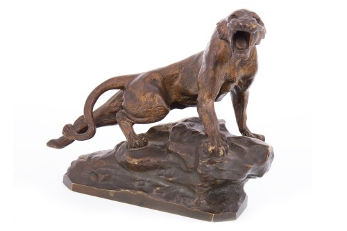 Lot 1621-THOMAS CARTIER - GILDED BRONZE OF A PANTHER...