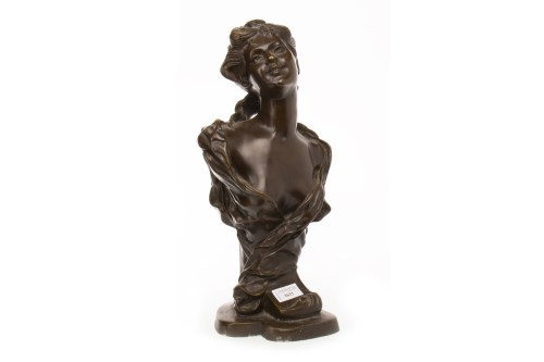 Lot 1633-ART NOUVEAU STYLE BRONZE BUST OF A SMILING LADY...