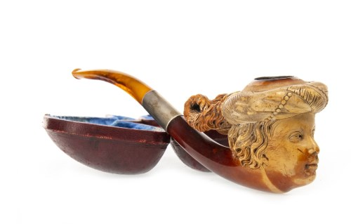 Lot 1638-VICTORIAN MEERSCHUAM PIPE modelled as young man...