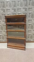 Lot 1651-MAHOGANY FOUR SECTION STACKING BOOKCASE by Globe...