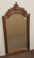 Lot 1660-FRENCH UPRIGHT BEVELLED WALL MIRROR WITH ARCHED...