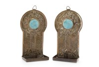 Lot 1665-PAIR OF ARTS & CRAFTS BRASS WALL CANDLE SCONCES...