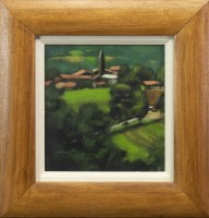 Lot 28-* PETER NARDINI, FRENCH VILLAGE acrylic on board, ...