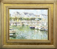 Lot 63-* JOHN ROSS, SAILING BOATS AT LE POULIGUEN oil on ...
