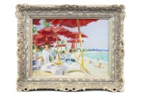 Lot 71-* JOHN ROSS, THE RED UMBRELLAS oil on canvas,...