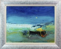 Lot 132-* NAEL HANNA, BEACHED BOATS oil on board, signed...