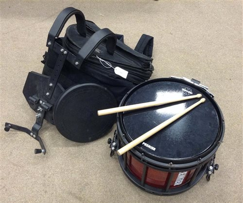 Lot 1401-MODERN MARCHING SNARE BY PREMIER marbled red...