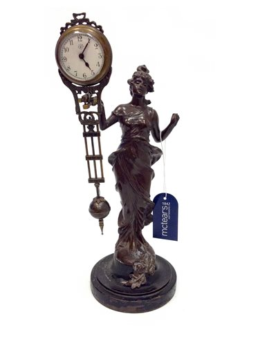 Lot 1408-VICTORIAN FRENCH FIGURAL MYSTERY CLOCK the...