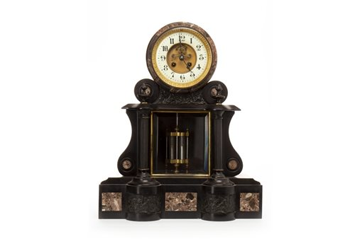 Lot 1416-VICTORIAN BLACK SLATE MANTEL CLOCK the two day...