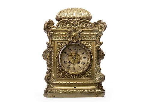 Lot 1417-VICTORIAN CAST BRASS MANTEL CLOCK the two...