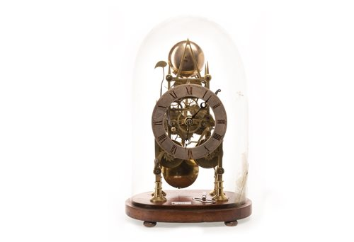 Lot 1421-BRASS SKELETON CLOCK the steel chapter ring...