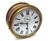 Lot 1429-EARLY 20TH CENTURY SHIP'S BULKHEAD CLOCK one...