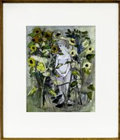 Lot 26-GIRL AND SUNFLOWERS, BY BRENDA MARK (PHILIPSON)
