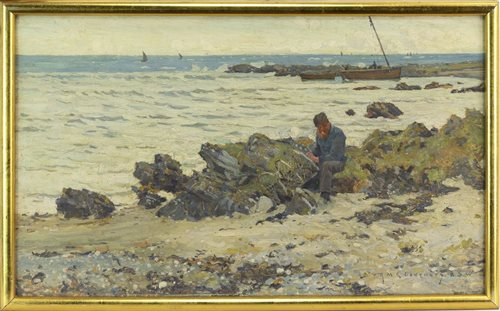 Lot 402-MENDING THE NETS, BY ROBERT MCGOWAN COVENTRY