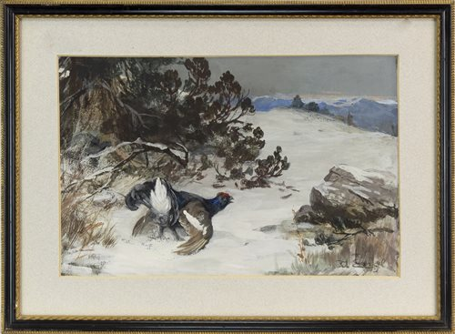 Lot 405-BLACK GROUSE DISPLAYING, SIGNED INDISTINCTLY