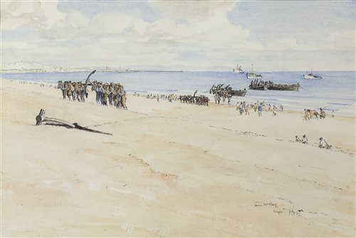 Lot 411-TANGIER, VIEW OF GIBRALTAR, BY JAMES MCBEY