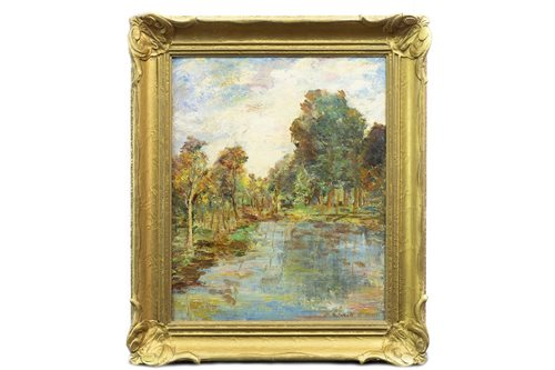 Lot 453-WOODED LAKESIDE SCENE, BY JOHN CAMPBELL MITCHELL