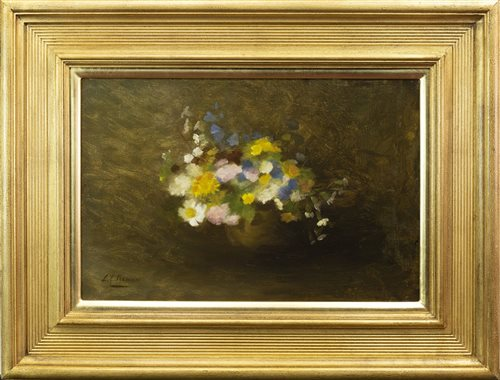 Lot 457-FLORAL STILL LIFE, BY LOUISE ELLEN PERMAN