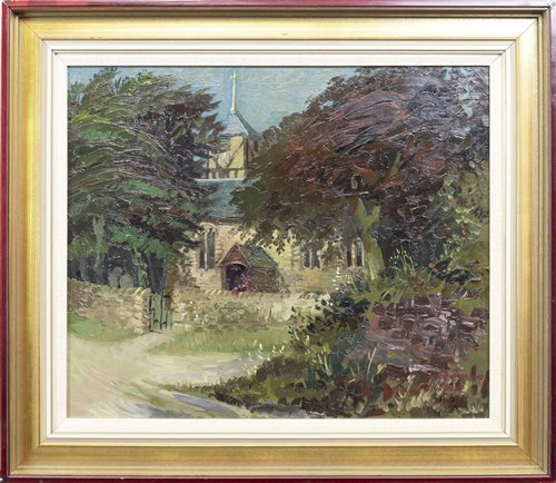 Lot 467-CHURCH AMONGST THE TREES, BY WILLIAM DRUMMOND BONE