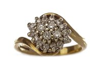 Lot 68 - A DIAMOND CLUSTER RING