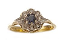 Lot 79 - A BLUE GEM AND DIAMOND CLUSTER RING