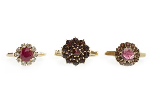 Lot 237-THREE GEM SET CLUSTER RINGS