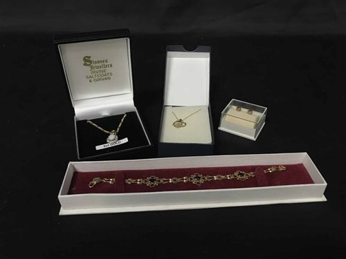 Lot 4-GOLD GEM SET BRACELET AND OTHER JEWELLERY