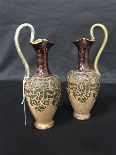 Lot 14-PAIR OF ROYAL DOULTON LAMBETH EWERS