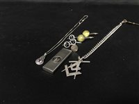 Lot 7-SILVER ITEMS INCLUDING A MASONIC FOB