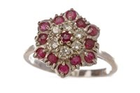 Lot 94 - A RED GEM AND DIAMOND CLUSTER RING